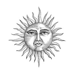 Face in sun hand drawing engraving style