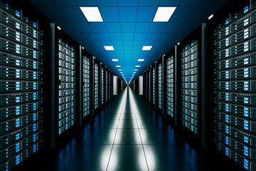 design element. 3D illustration. rendering. server room in data center full of telecomunication equipment.  internet. big data storage. cloud computing technology