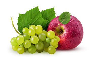 Grapes yellow pear and red apple with leaf