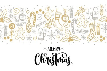 Christmas decorations elements seamless border with lettering
