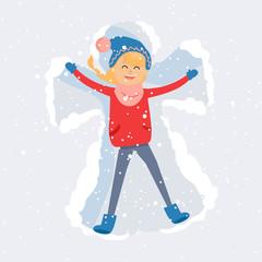 Happy Woman Making Snow Angel Flat Vector