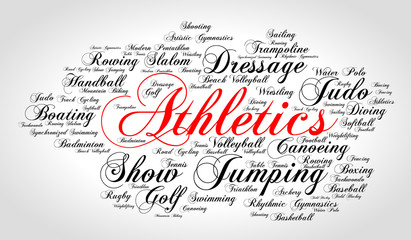 Athletics. Word cloud, italic red font, grey gradient background. Summer sports.