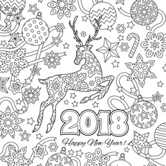 New year congratulation card with numbers 2018, deer and festive objects. Zentangle inspired style. Zen colorful graphic. Image for calendar, coloring book.