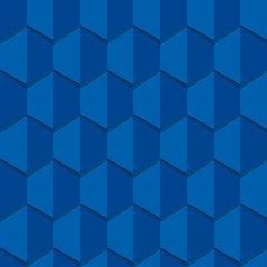 Hexagon seamless pattern in velvet blue colors.