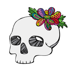 Vector of hand draw skull with flower