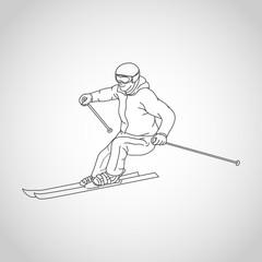 skiing vector logo icon illustration