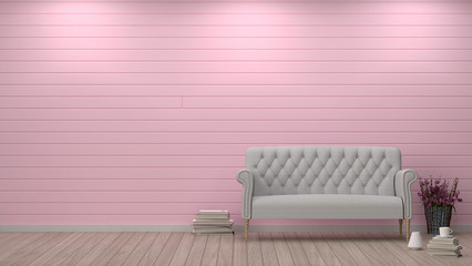 simple living room sofa in front of pink wall interior design 3D illustration,valentine heart pillow decoration room with lamp interior background nobody empty clean