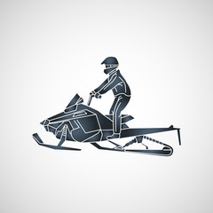 snowmobiling vector logo icon illustration