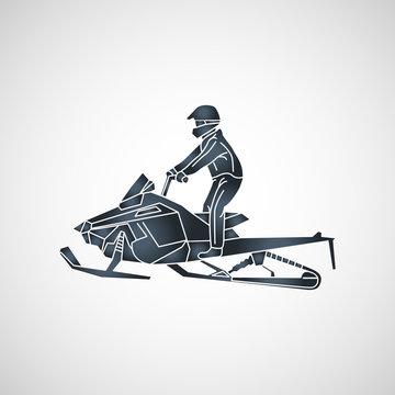 snowmobiling vector logo icon illustration