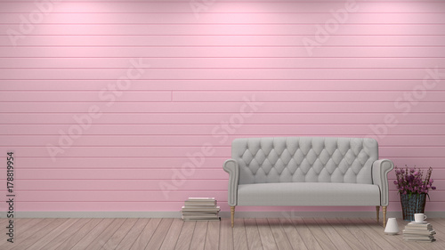simple living room sofa in front of pink wall interior design 3D ...