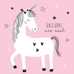 magic cute unicorn vector illustration
