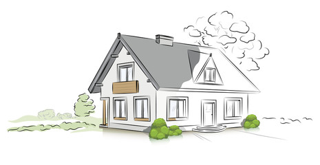Hand drawn architectural sketch detached house