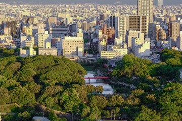 Asia Business modern cityscape building bird eye aerial view in Osaka, Japan