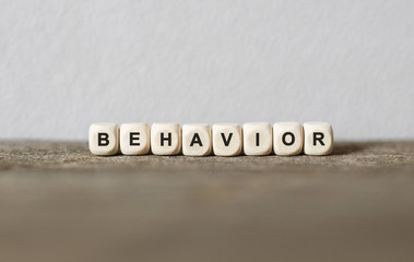Word BEHAVIOR made with wood building blocks