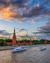 Moscow Kremlin, Kremlin Embankment and Moscow River in Moscow, Russia. Architecture and landmark of Moscow