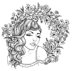 Pretty elegant boho girl on background with flowers. Hand drawn amazing floral bohemia coloring book page for adult isolated on white.