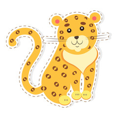 Cute Jaguar Cartoon Flat Vector Sticker or Icon