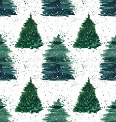 Christmas beautiful abstract graphic artistic wonderful bright holiday winter green spruce trees with green spray pattern watercolor hand illustration