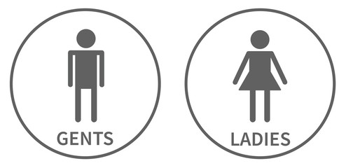 Simple icons for toilet, ladies and gents