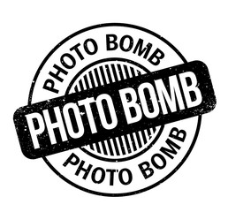 Photo Bomb rubber stamp. Grunge design with dust scratches. Effects can be easily removed for a clean, crisp look. Color is easily changed.