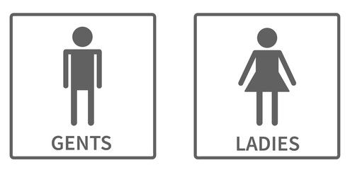 Simple icons for toilet in square, ladies and gents