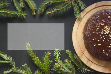 Christmas cake. Chocolate cake with nuts.