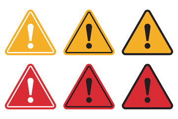 Set of triangle caution icons. Caution sign. Vector illustration