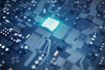 3D rendering Circuit board. Technology background. Central Computer Processors CPU concept. Motherboard digital chip. Tech science EDA background. Integrated communication processor, Information CPU