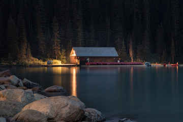 Canadian boat house at night