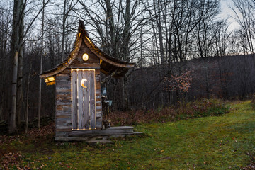 A cute Glamping Outhouse