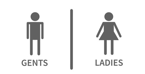 Simple icons silhouette for toilet, ladies and gents