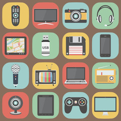 Technology colorful flat design icons