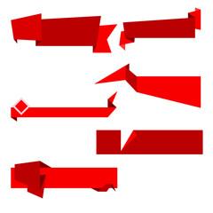 Flat vector ribbon labels set.