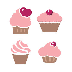 Vector set of four different cute cupcakes