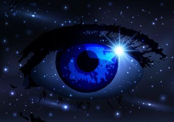 espace - œil - rêve - univers - imaginaire - imagination - astronomie - méditation - cosmos
