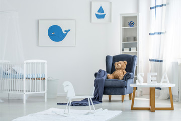 White marinistic kid's bedroom
