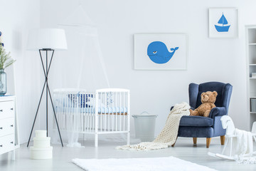 White and blue baby's bedroom