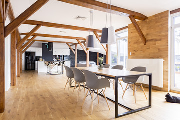 Spacious wooden dining room