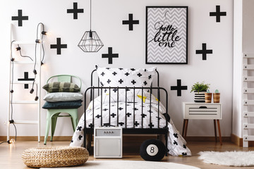 Black and white kid's bedroom