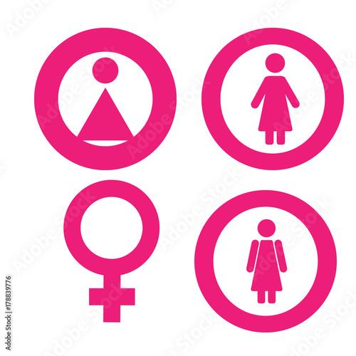 Gender Symbol Set Male Female Girl Boy Woman Man Vector Icon
