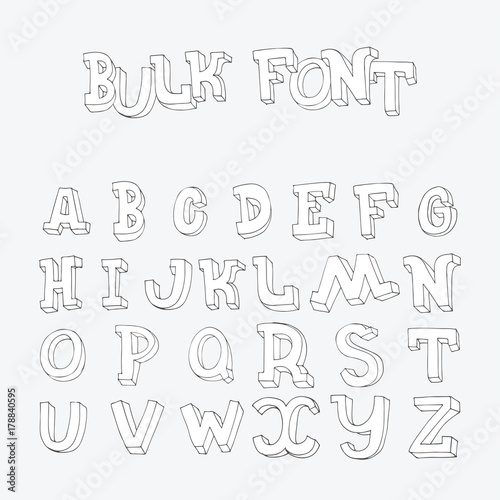 Hand Drawn Font Letters Sequence From A To Z In Doodle 3d Style Imperfect Characters