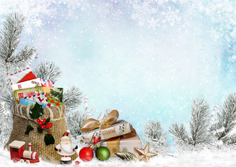 Christmas greeting card with gifts, a bag of letters, Santa Claus, toys and pine branches