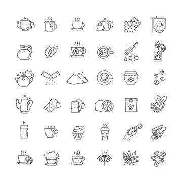 Tea icon set. Thin line vector illustration