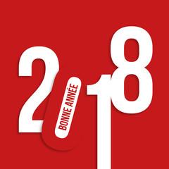 2018 - carte de vœux - design - entreprise - carré - graphique - vœux - année - rouge - bonne année
