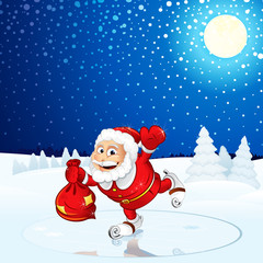 Santa Claus run on Winter Landscape
