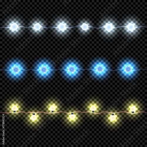 Bright Led Christmas Lights.Christmas Lights Isolated On Dark Background Garland Set