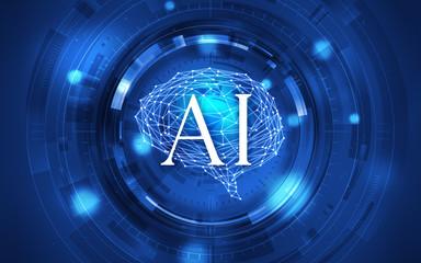 イラスト素材: 脳と人工知能ブルー、AI