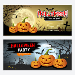 Happy Halloween banner collections design background, Vector illustrations