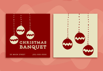 Christmas Banquet Invitation Card with Decorative Bulbs