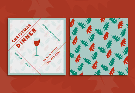 Christmas Dinner Invitation Card with Holly and Wine Glass